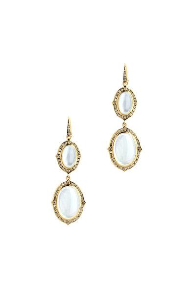 Syna - Kamala Gold Moon Quartz Champagne Diamond Earrings