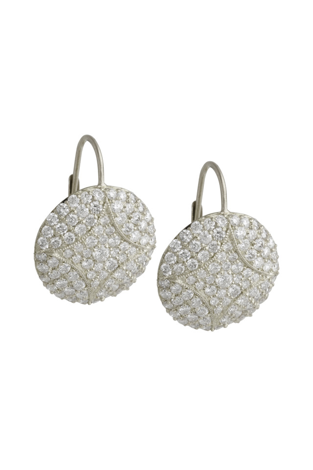 Aladdin Disc White Gold Pave Diamond Earrings