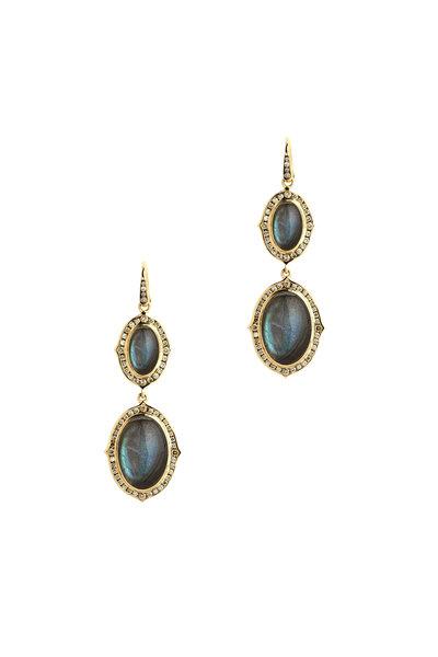 Syna - Kamala Gold Labradorite Champagne Diamond Earrings