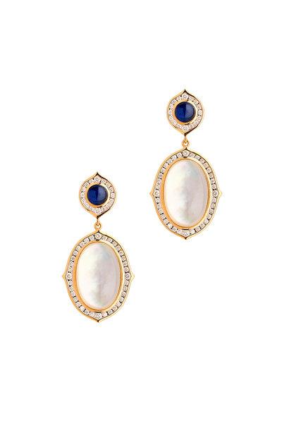 Syna - Kamala Yellow Gold Moon Quartz Sapphire Earrings