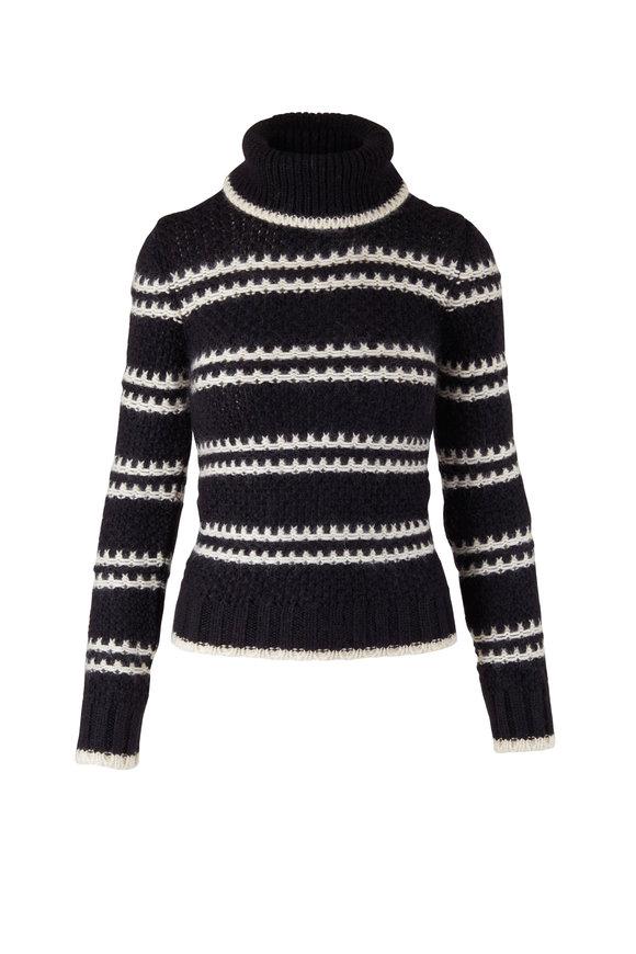 Saint Laurent Noir & Natural Turtleneck Sweater