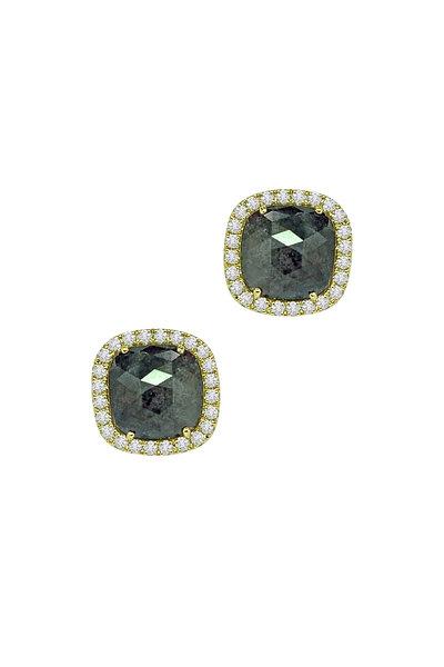 Sutra - 18K Yellow Gold Rough & White Diamond Studs
