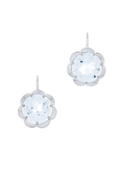 Jamie Wolf - White Gold White Topaz Petite Scallop Earrings