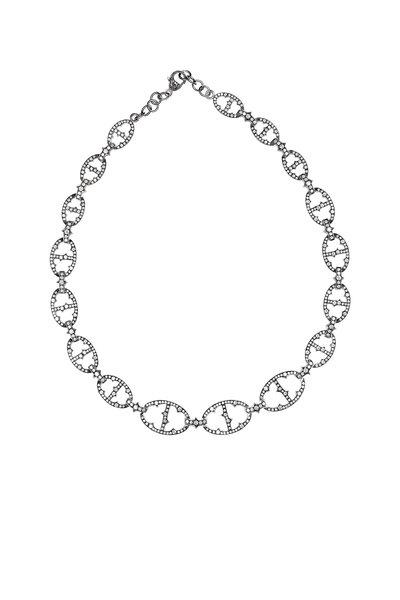 Sylva & Cie - White Gold White Diamond Open Link Choker Necklace