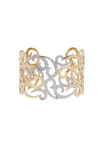 Kathleen Dughi - Yellow Gold Lace Diamond Cuff Bracelet