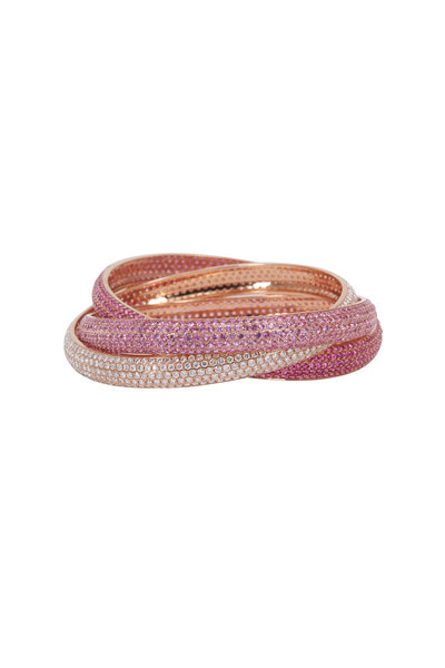 Kathleen Dughi - Rose Gold Ruby Sapphire Diamond Bangle Bracelet