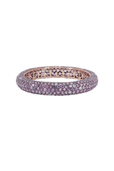 Kathleen Dughi - Gold Pink & Purple Sapphire Diamond Bangle