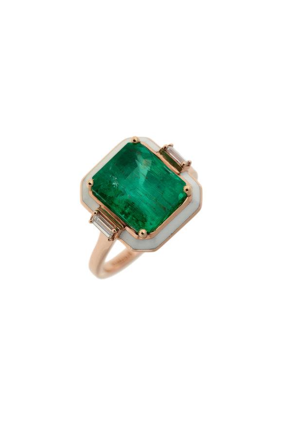 Selim Mouzannar Rose Gold Enamel & Emerald Ring