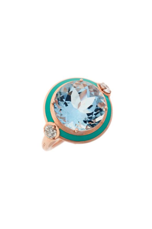 Selim Mouzannar Turquoise Enamel, Aquamarine & Diamond Ring