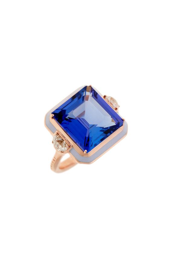 Selim Mouzannar Lilac Enamel, Tanzanite & Diamond Ring