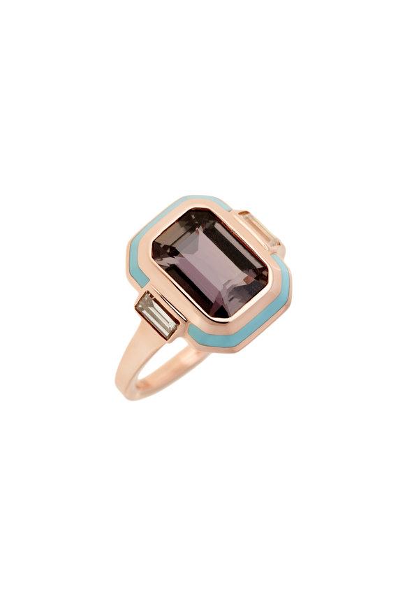 Selim Mouzannar Light Blue Enamel, Pink Sapphire & Diamond Ring