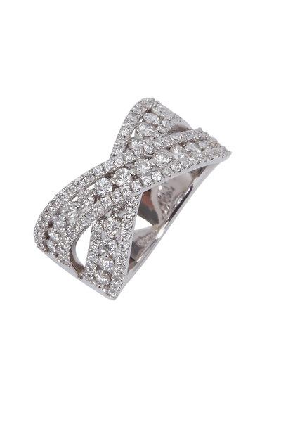 Kathleen Dughi - White Gold Three Row Diamond Crossover Ring