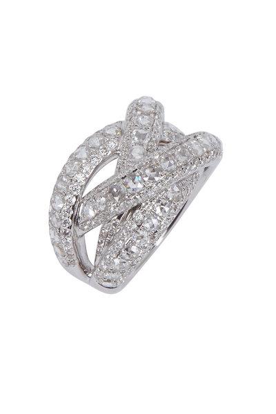 Kathleen Dughi - White Gold White Diamond Crossover Ring