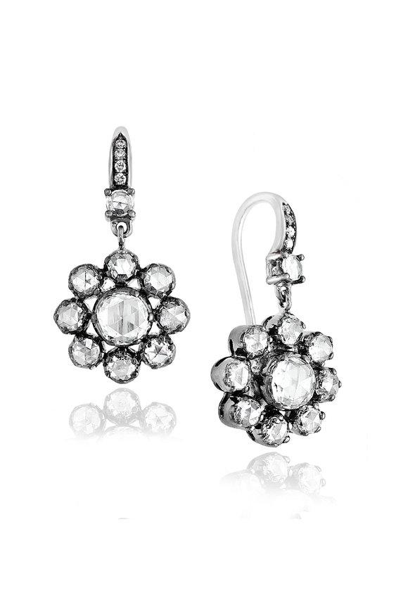Nam Cho White Diamond Flower Drop Earrings
