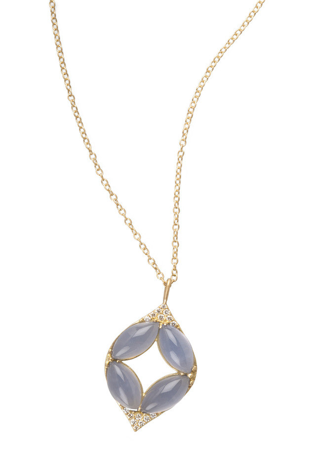 Marquise Oval Chalcedony Diamond Gold Necklace
