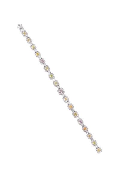 Kathleen Dughi - White Gold Fancy & White Diamond Line Bracelet