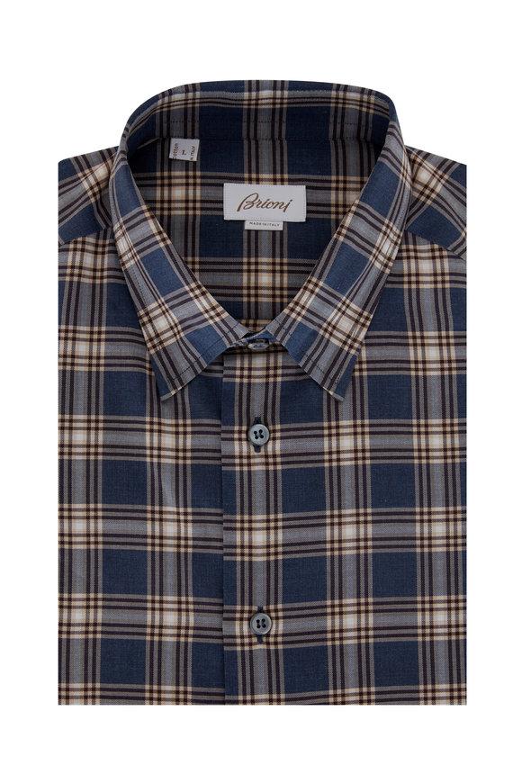 Brioni Blue & Brown Plaid Cotton Sport Shirt