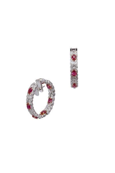 Kathleen Dughi - White Gold Ruby & Diamond Hoop Earrings