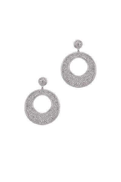 Kathleen Dughi - White Gold White Diamond Circle Earrings