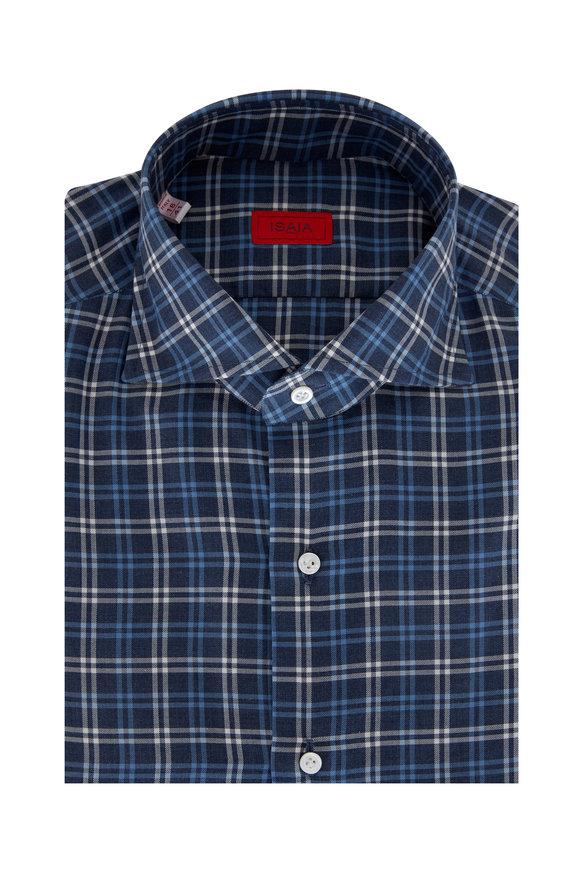 Isaia Blue & White Cotton Tattersall Flannel Sport Shirt