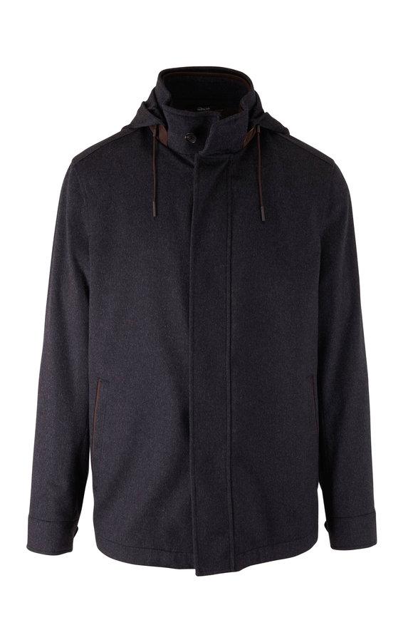 Ermenegildo Zegna Charcoal Cashmere Hooded Field Jacket