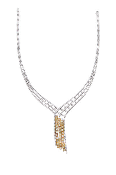 Louis Newman - Gold Fancy Yellow & White Diamond Necklace