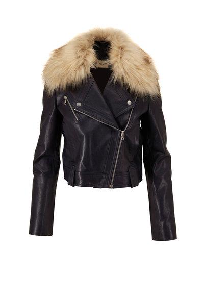 Khaite - Antonia Navy Leather Faux Fur Collar Moto Jacket
