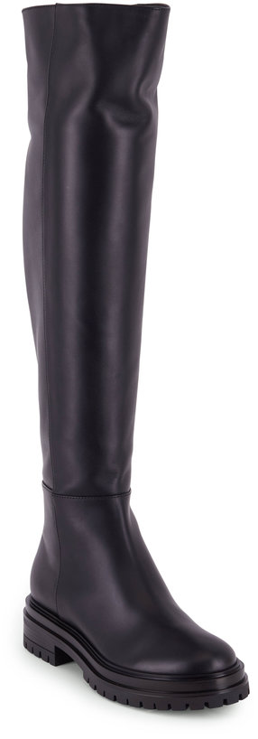 Gianvito Rossi Quinn Black Leather Over The Knee Flat Boot