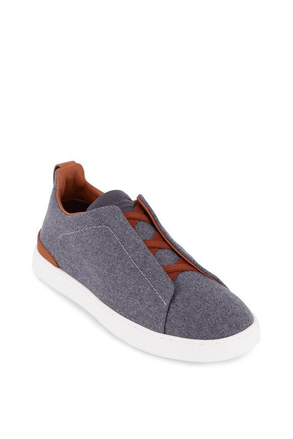 Ermenegildo Zegna Gray Wool Triple Stitch Sneaker