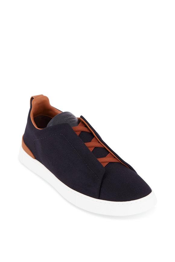 Ermenegildo Zegna Black Wool Triple Stitch Sneaker