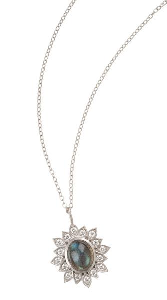 Jamie Wolf - White Gold Labradorite Diamond Pendant