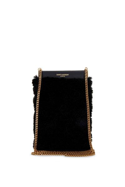 Saint Laurent - Black Shearling Phone Pouch On Chain