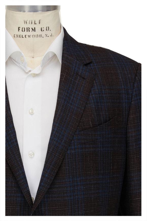 Ermenegildo Zegna Brown & Blue Plaid Wool Blend Sport Coat