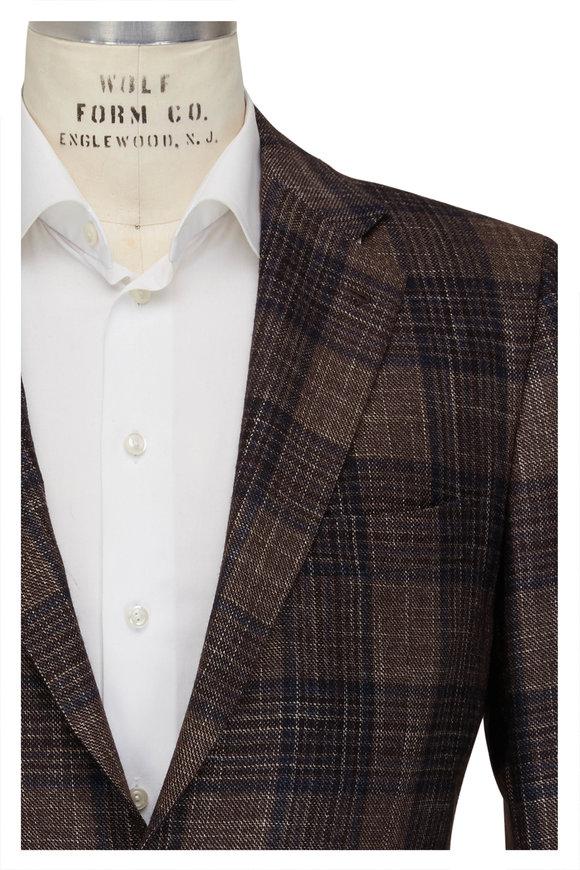 Kiton Brown & Navy Cashmere & Silk Sportcoat