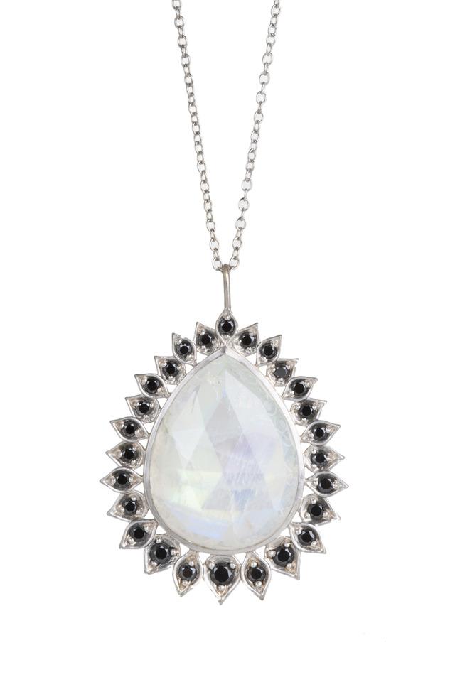 White Gold Aladdin Edged Moonstone Necklace