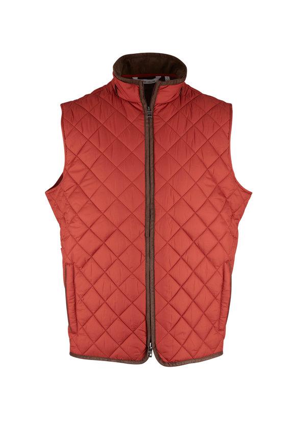 Peter Millar Essex Orange Quilted Travel Vest