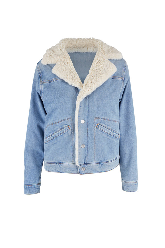 Mother Denim The Off The Grid Bless You Sherpa Denim Jacket