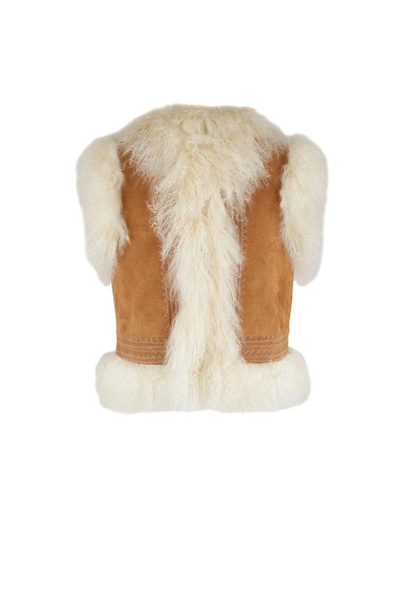 Nili Lotan McCartney Tan Mongolian Shearling Vest