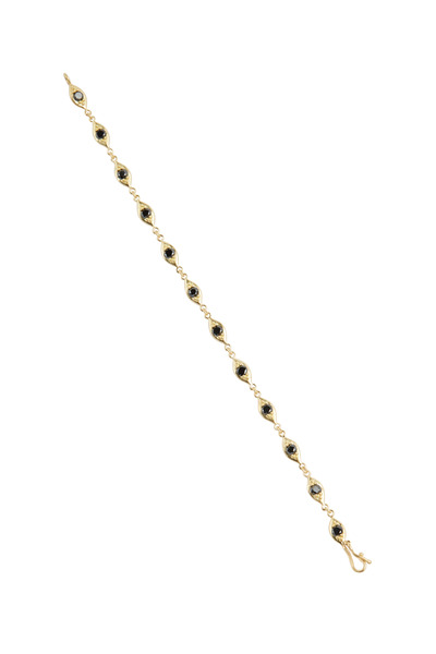 Jamie Wolf - Yellow Gold Black Diamond Linked Leaf Bracelet