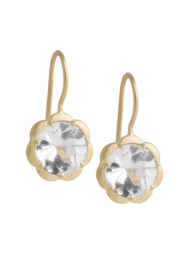 Yellow Gold White Topaz Drop Earrings