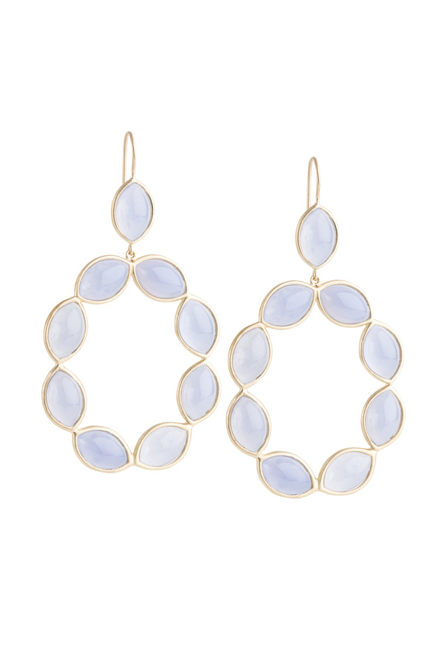 Marquise Blue Chalcedony Linked Gold Earrings
