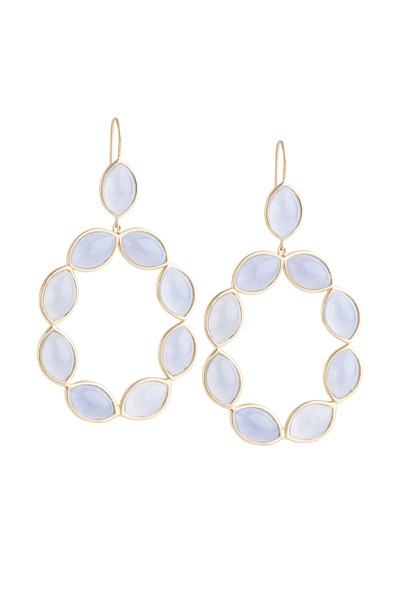 Jamie Wolf - Marquise Blue Chalcedony Linked Gold Earrings