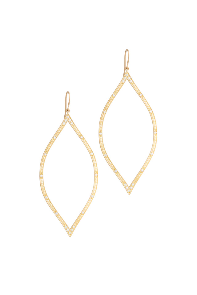 Yellow Gold Diamond Open Marquise Leaf Earrings