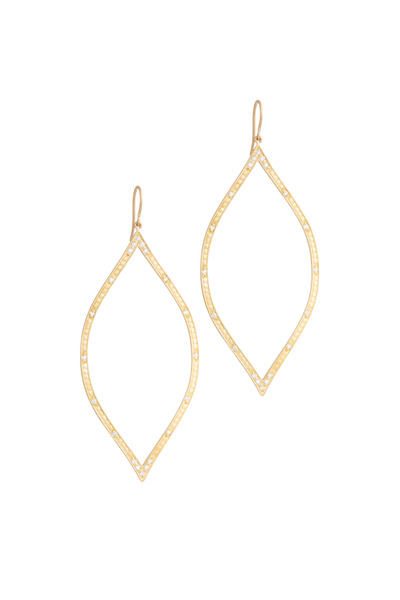 Jamie Wolf - Yellow Gold Diamond Open Marquise Leaf Earrings