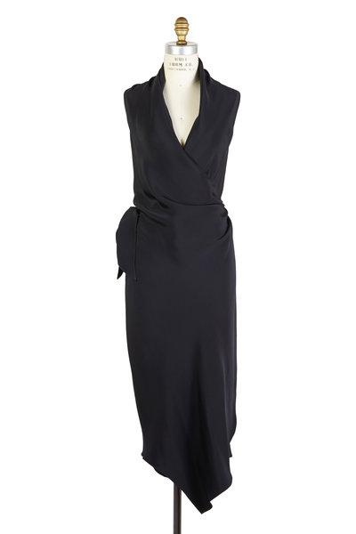Peter Cohen - Victor Black Silk Wrap Dress