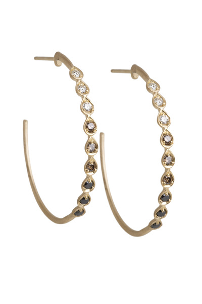 Jamie Wolf - Pear Black, Cognac & White Diamond Linked Hoops