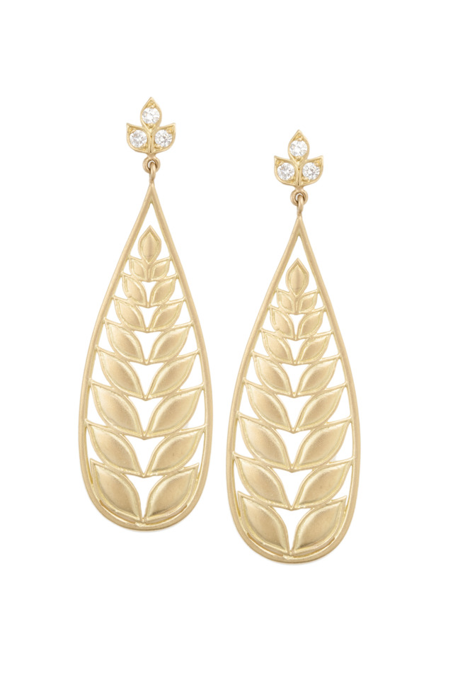 Gold Long Leaf Diamond Earrings