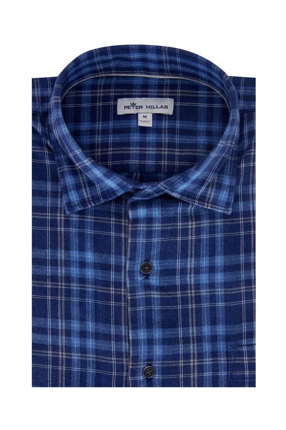 Peter Millar Thetford Mines Atlantic Blue Cotton Sport Shirt