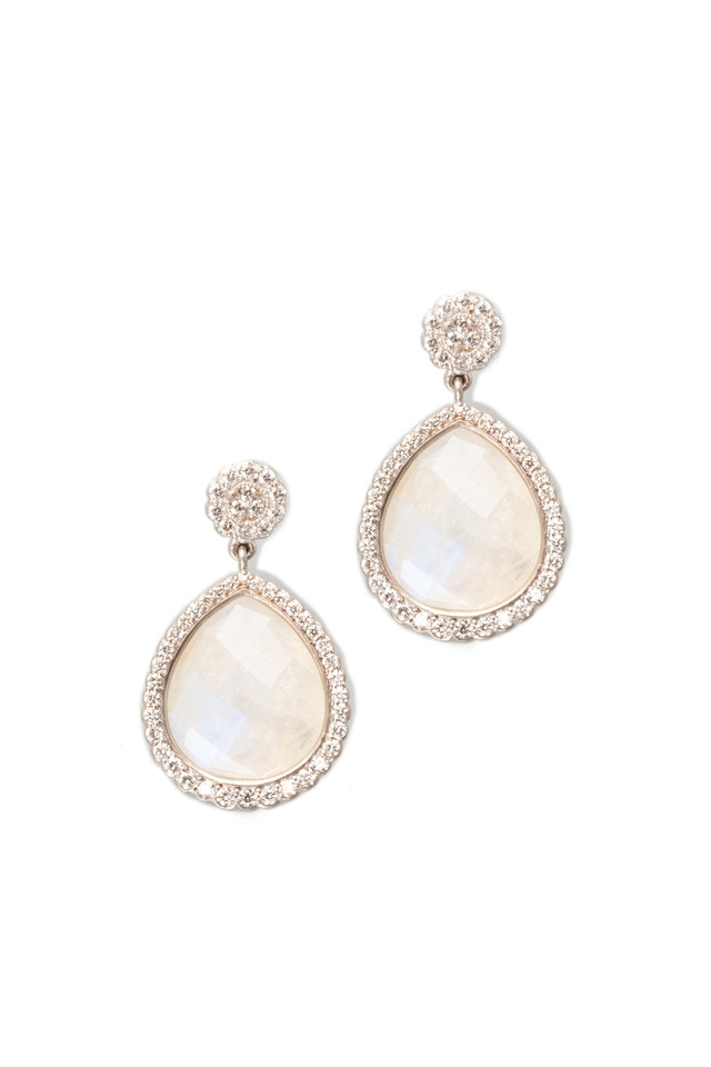 White Gold Scalloped Edge Moonstone Earrings