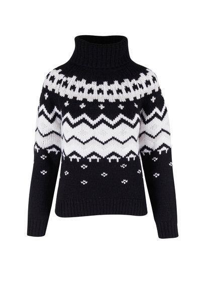 Bogner - Sophi Black & White Fairisle Turtleneck Sweater